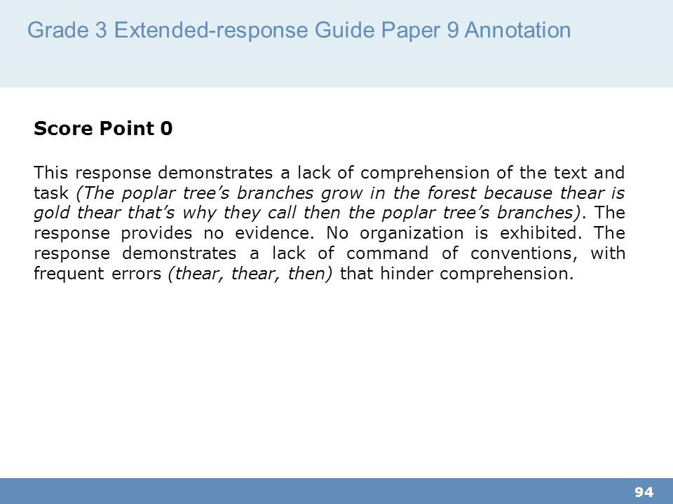 Grade 3 Extended-response Guide Paper 9 Annotation