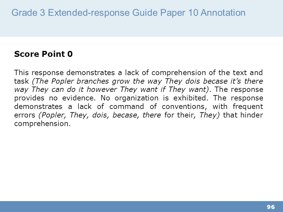 Grade 3 Extended-response Guide Paper 10 Annotation