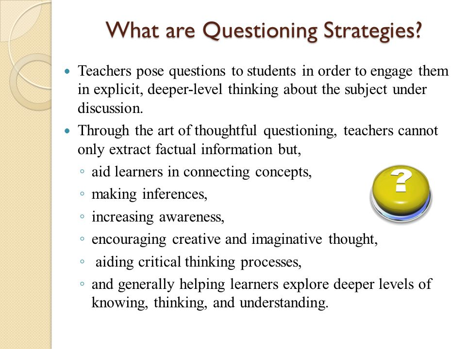 Chapter Questioning to Check for Understanding