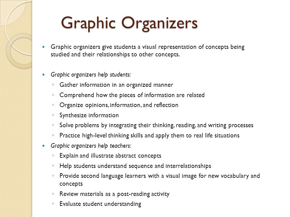 Graphic Organizers Graphic organizers give students a visual representation of concepts being studied and their relationships to other concepts.