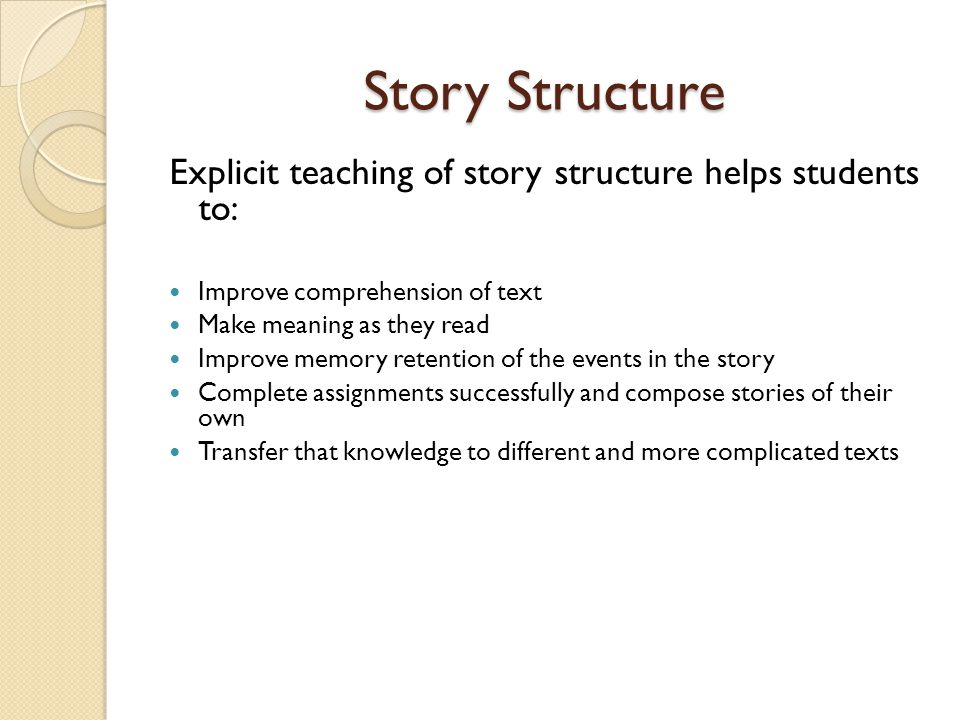 Story Structure Explicit teaching of story structure helps students to: Improve comprehension of text.