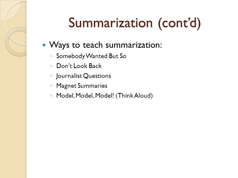 Summarization (cont'd)