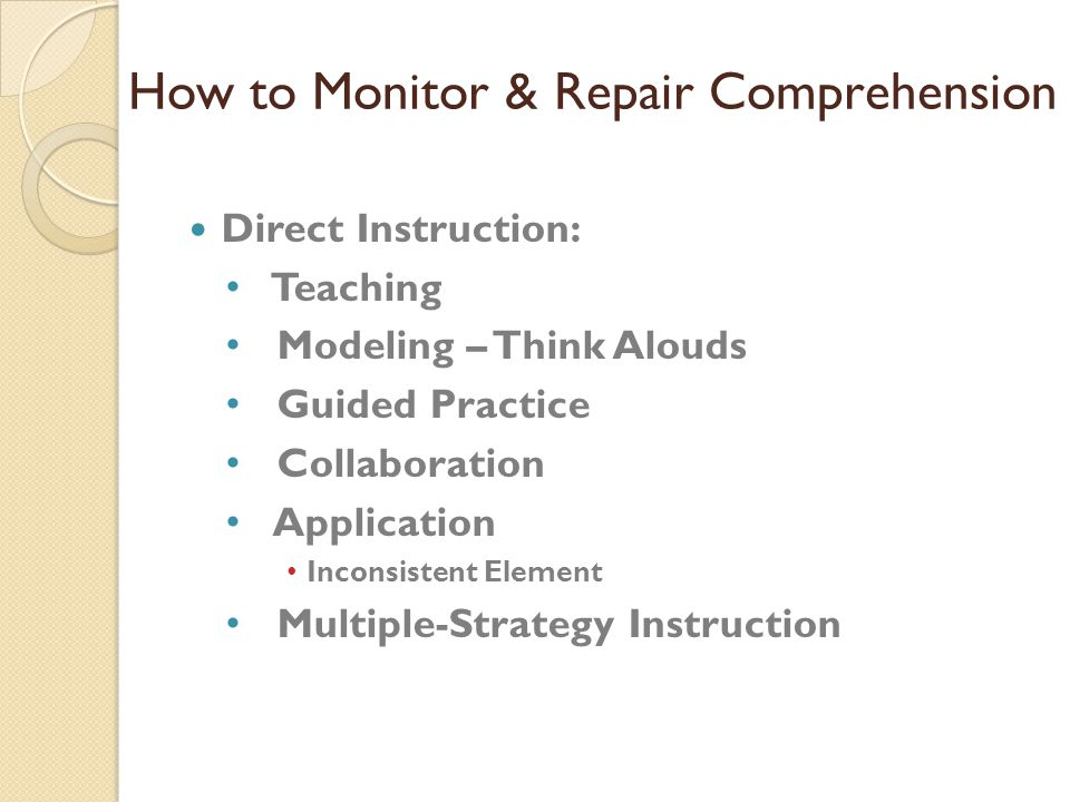 How to Monitor & Repair Comprehension