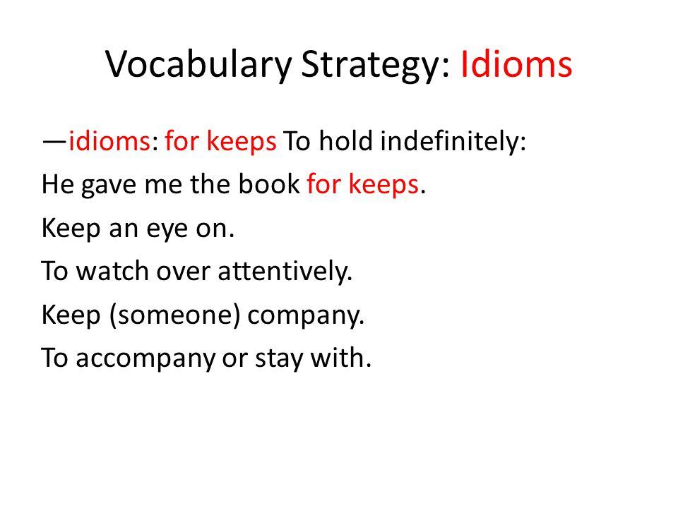Vocabulary Strategy: Idioms