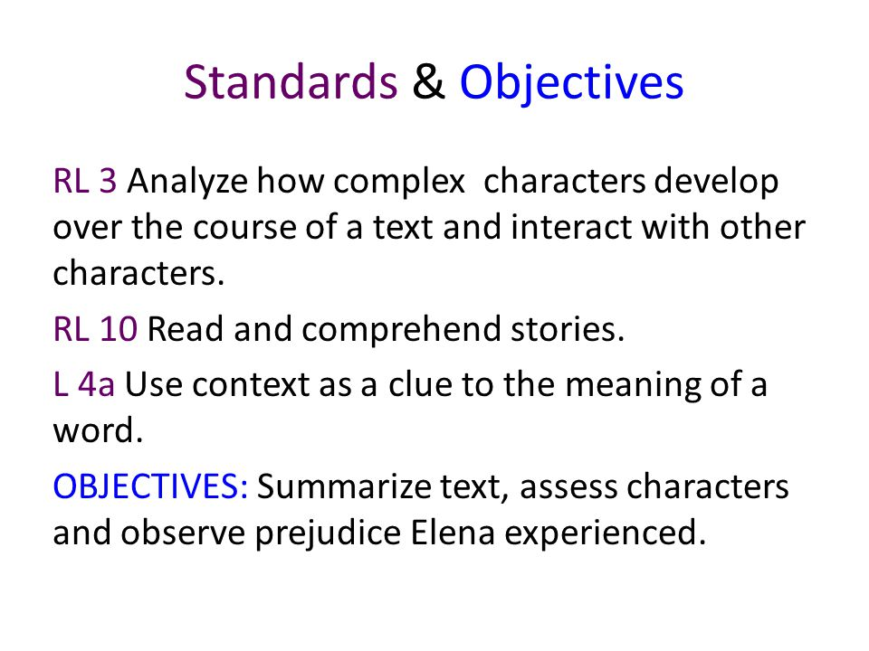 Standards & Objectives
