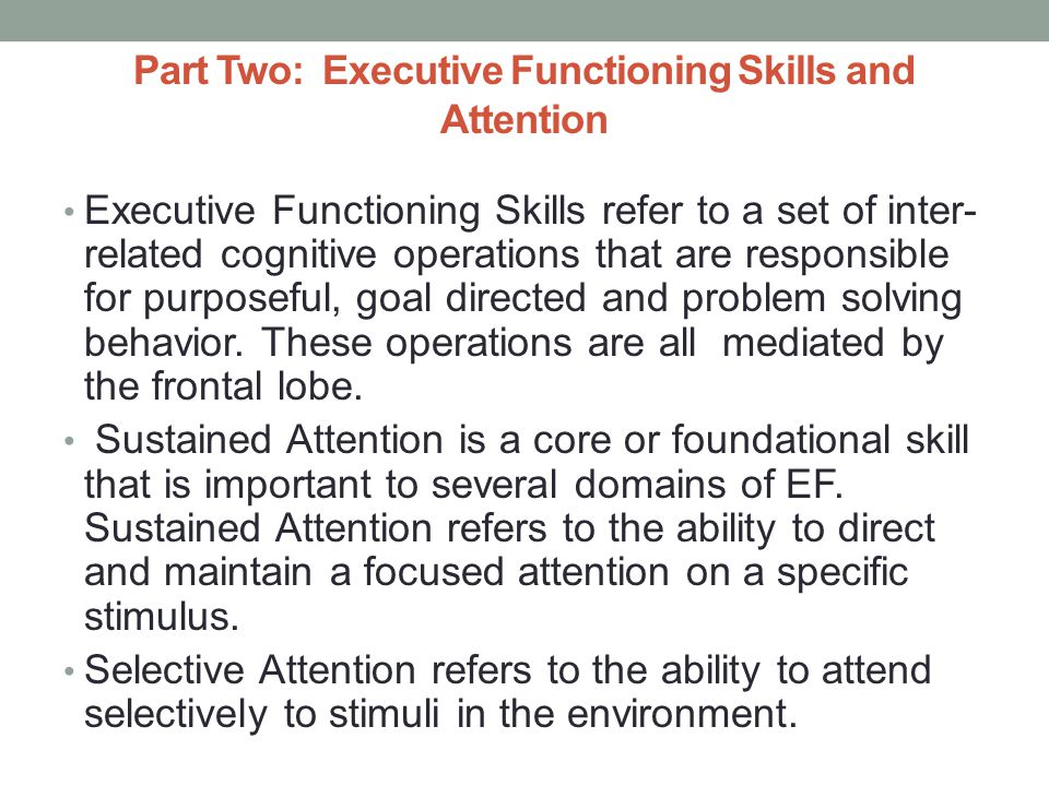 Part Two: Executive Functioning Skills and Attention