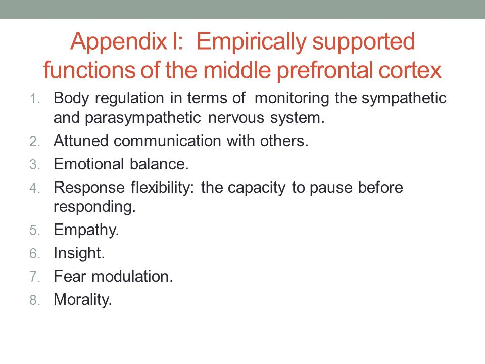 Appendix I: Empirically supported functions of the middle prefrontal cortex