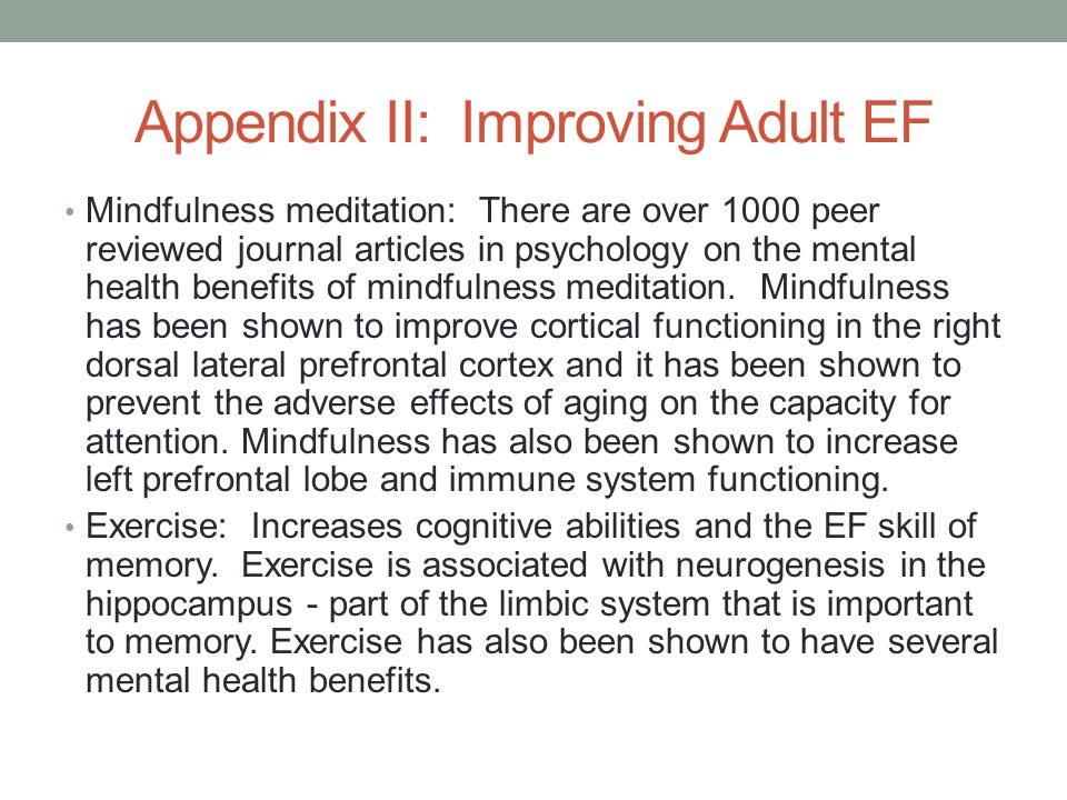 Appendix II: Improving Adult EF