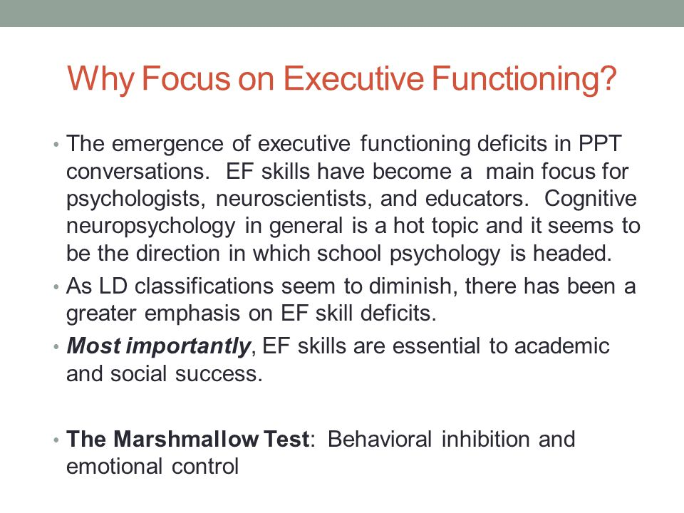 Why Focus on Executive Functioning
