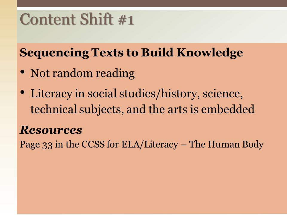 Content Shift #1 Sequencing Texts to Build Knowledge