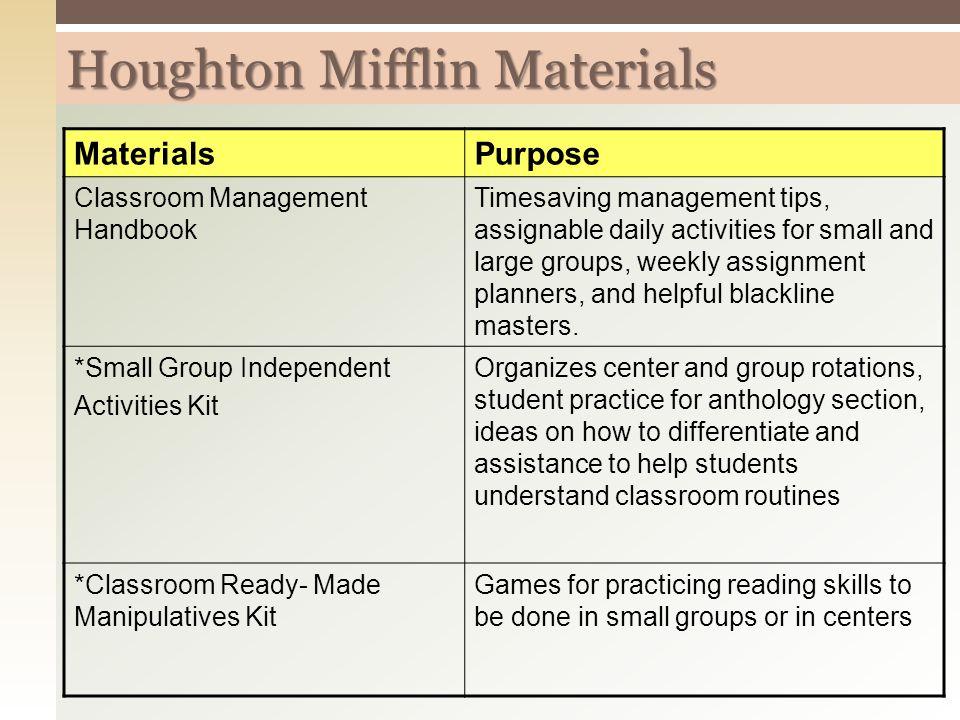 Houghton Mifflin Materials