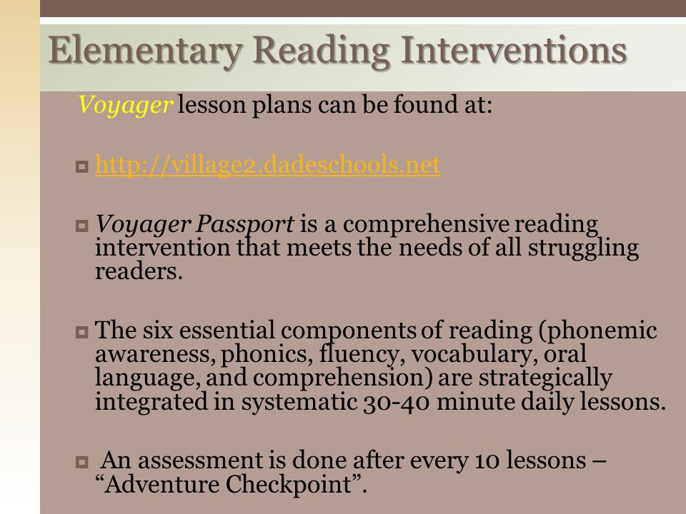 Elementary Reading Interventions