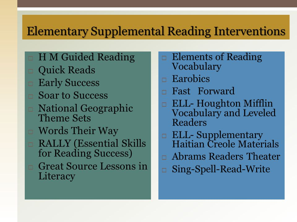 Elementary Supplemental Reading Interventions
