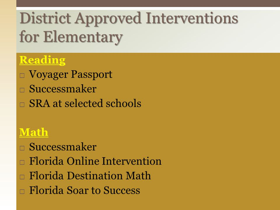 District Approved Interventions for Elementary