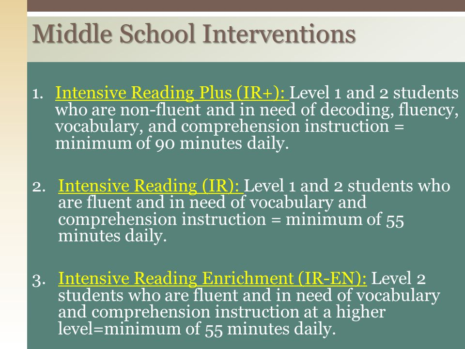 Middle School Interventions
