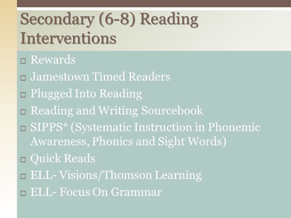 Secondary (6-8) Reading Interventions