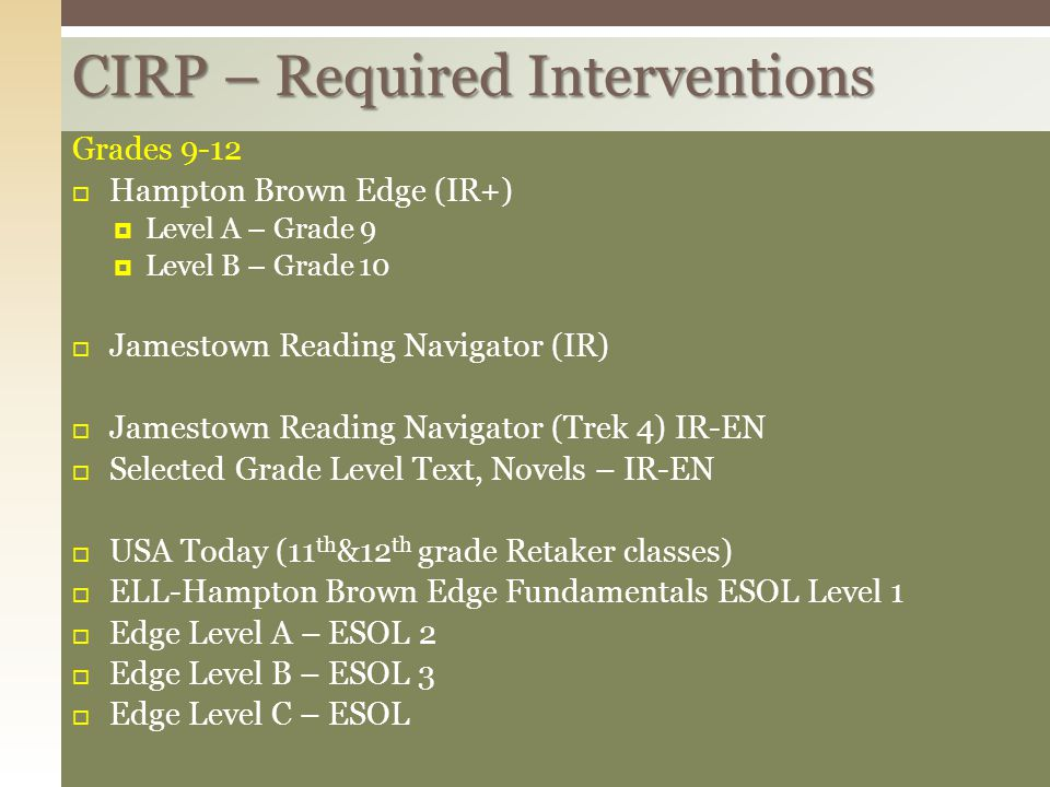 CIRP – Required Interventions