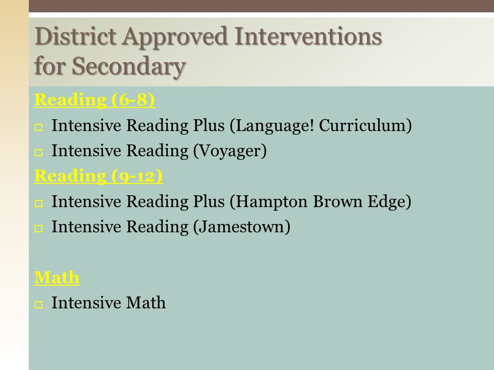 District Approved Interventions for Secondary