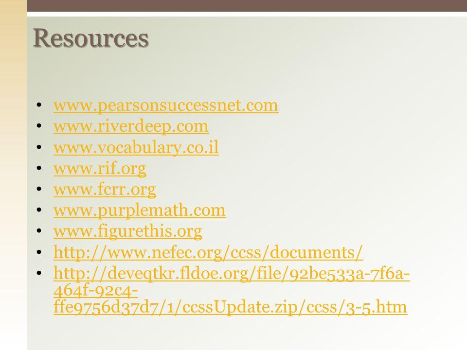 Resources www.pearsonsuccessnet.com www.riverdeep.com