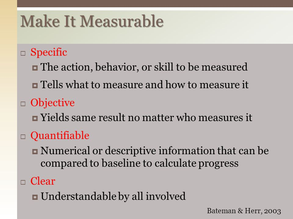 Make It Measurable Specific