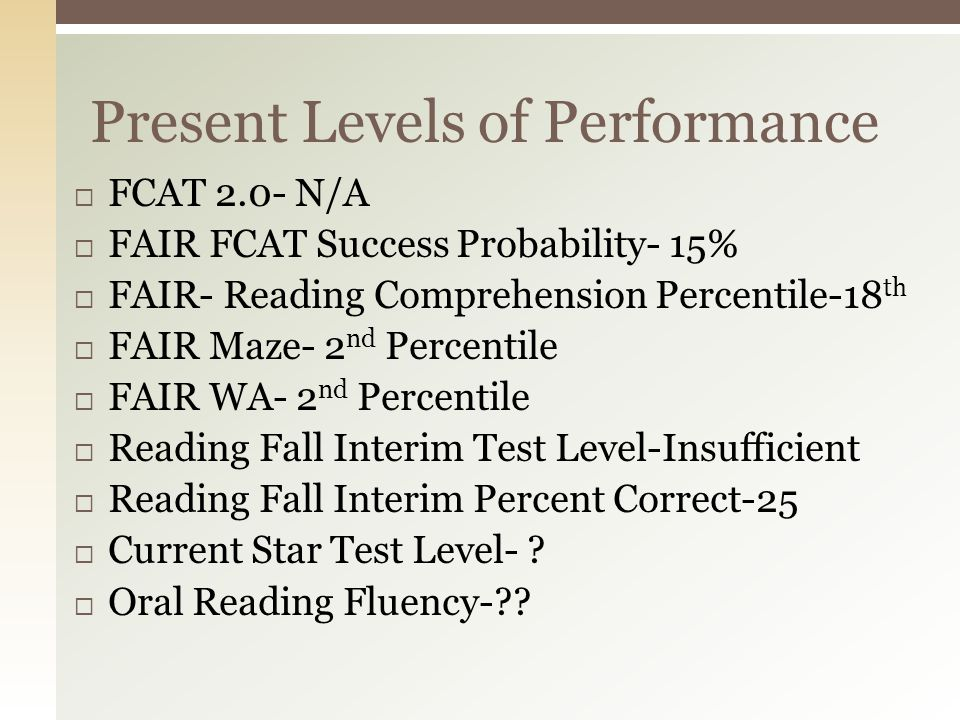 Present Levels of Performance