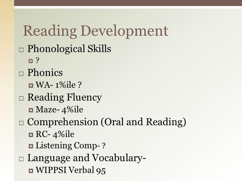 Reading Development Phonological Skills Phonics Reading Fluency