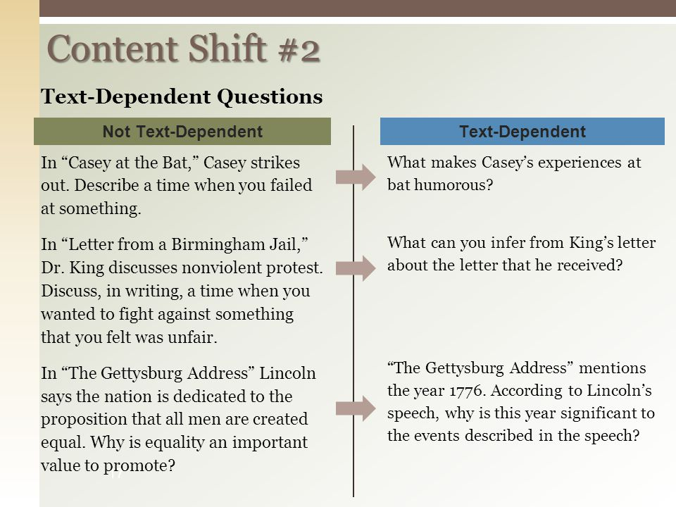 Content Shift #2 Text-Dependent Questions Not Text-Dependent
