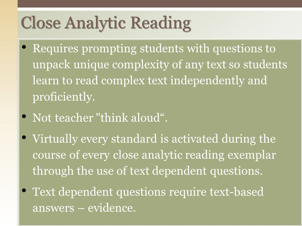 Close Analytic Reading