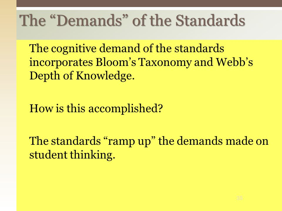 The Demands of the Standards