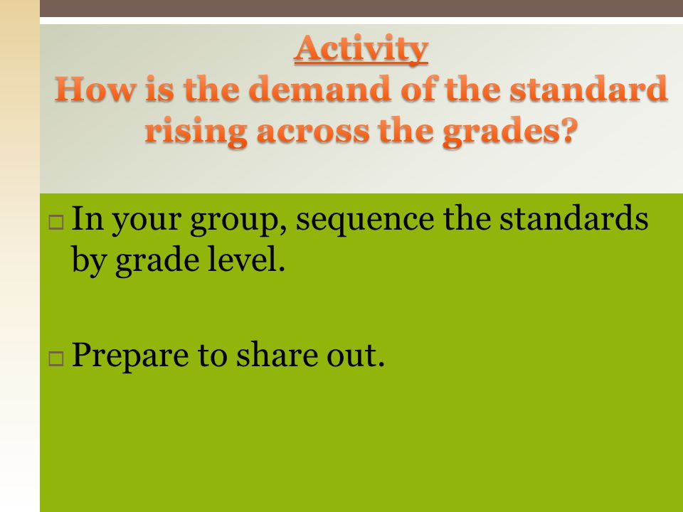 How is the demand of the standard rising across the grades