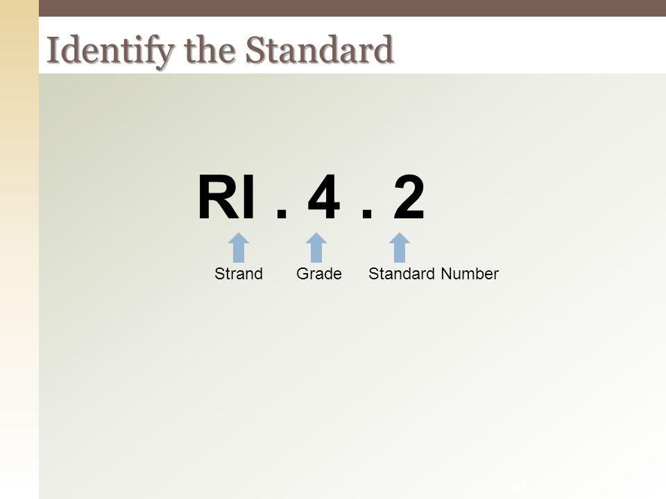 RI . 4 . 2 Identify the Standard Strand Grade Standard Number