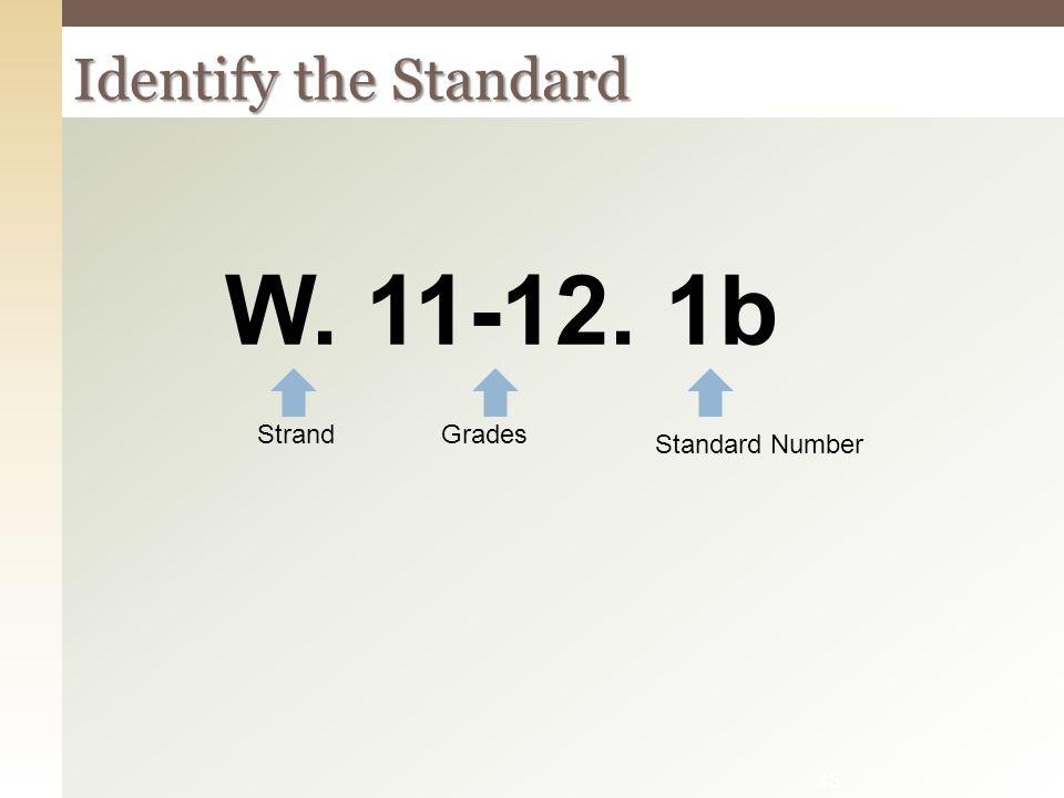 W. 11-12. 1b Identify the Standard Strand Grades Standard Number