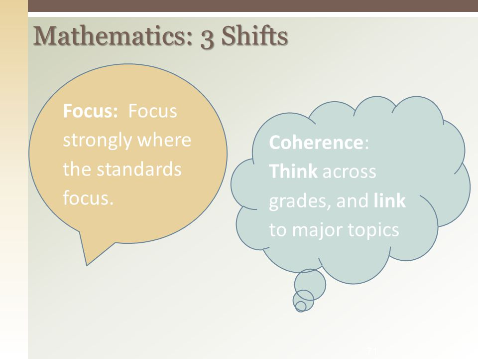 Mathematics: 3 Shifts Focus: Focus strongly where the standards focus.