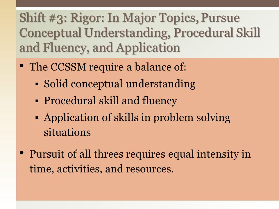 Shift #3: Rigor: In Major Topics, Pursue Conceptual Understanding, Procedural Skill and Fluency, and Application