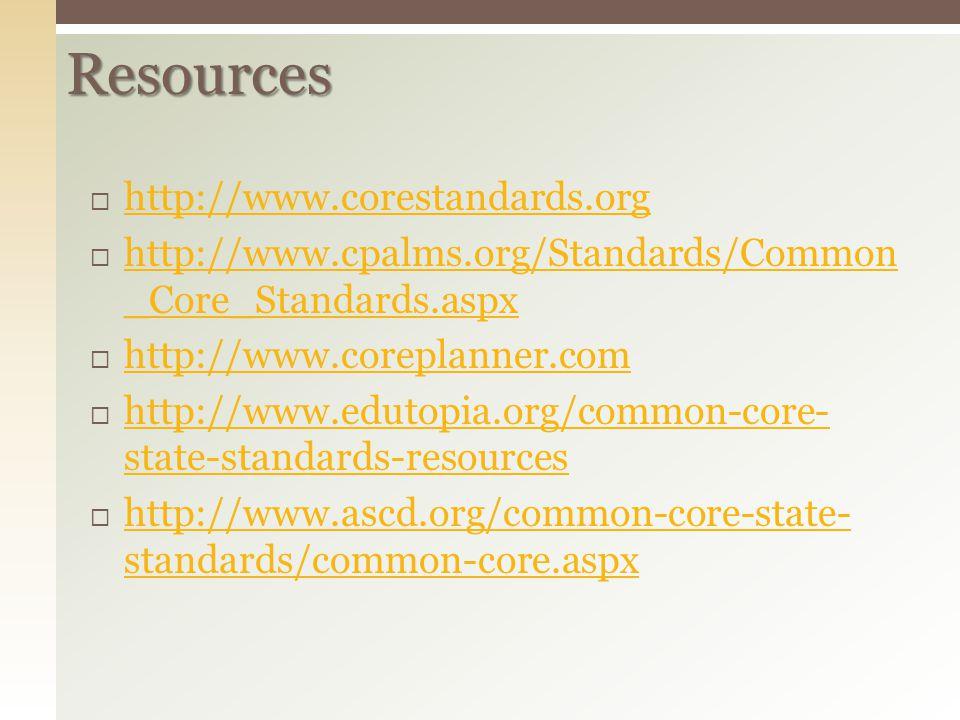 Resources http://www.corestandards.org