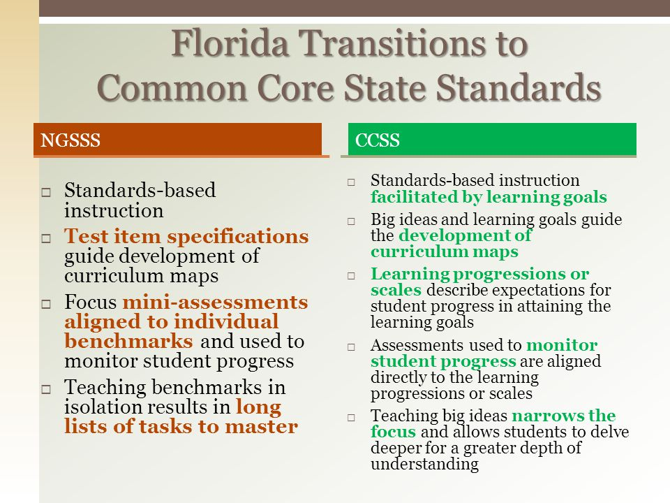Florida Transitions to Common Core State Standards