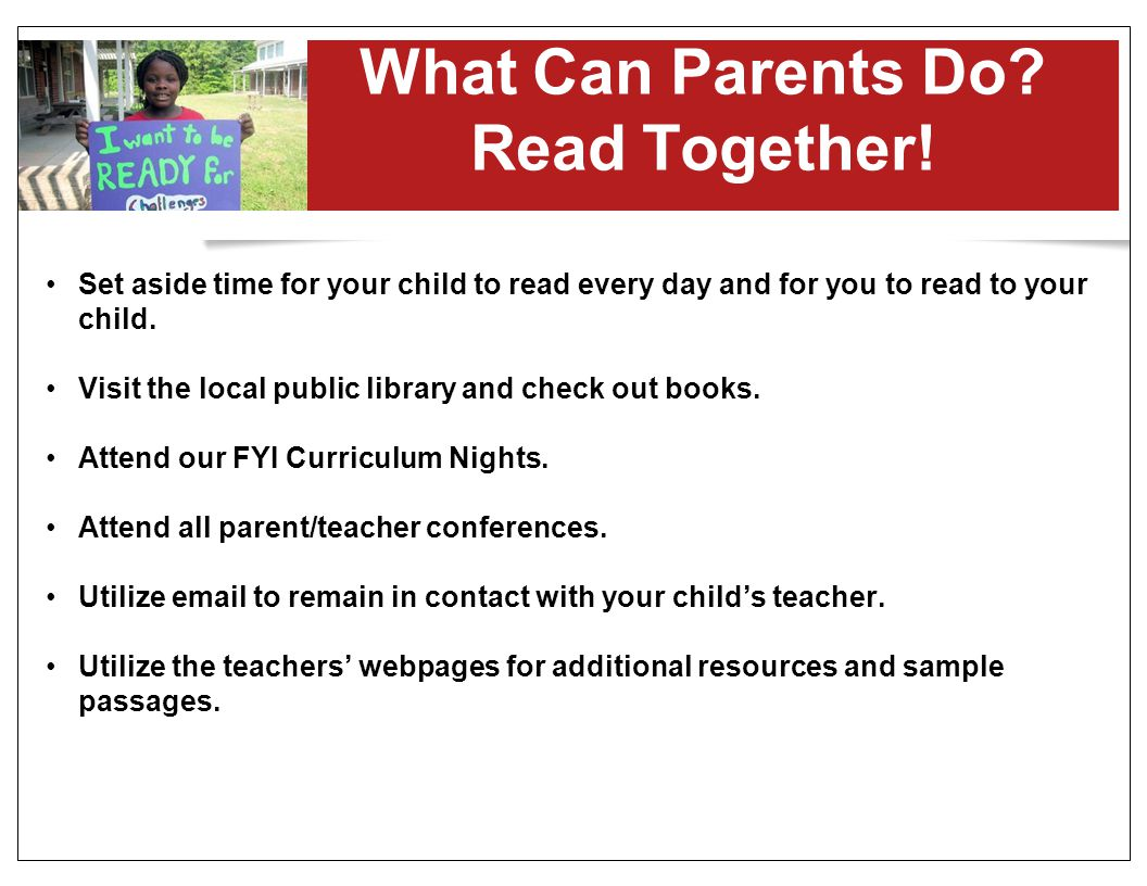 What Can Parents Do Read Together!