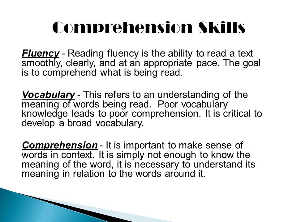 Comprehension Skills