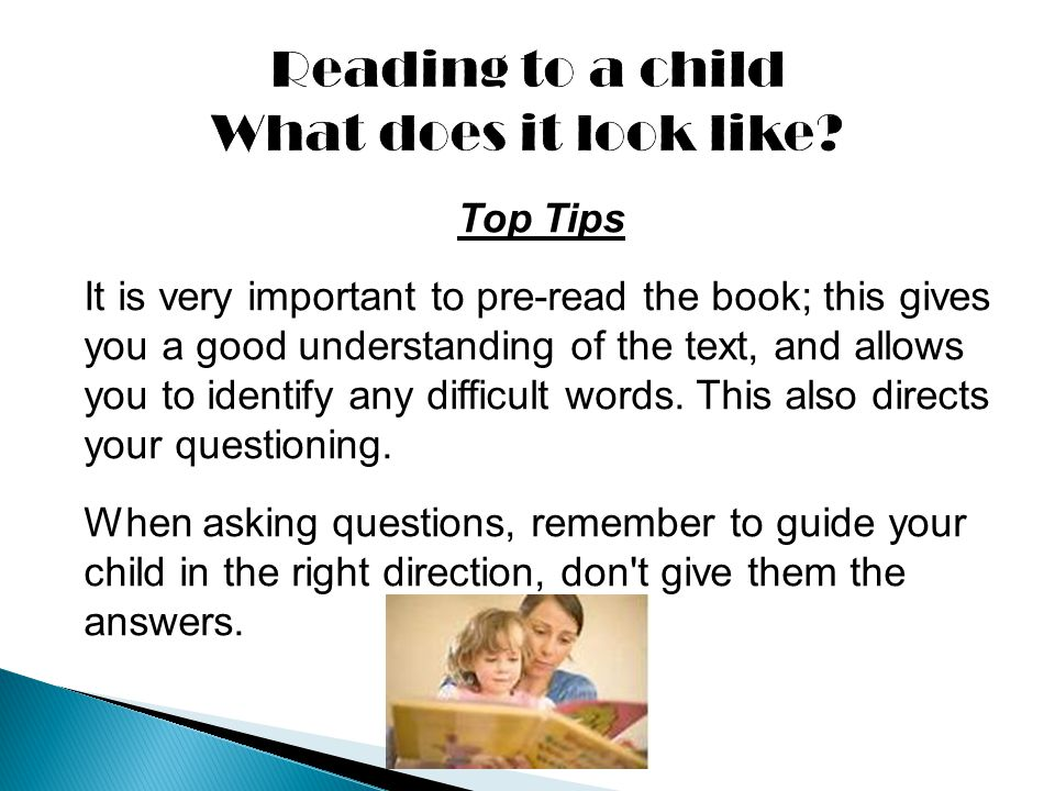 Reading to a child What does it look like