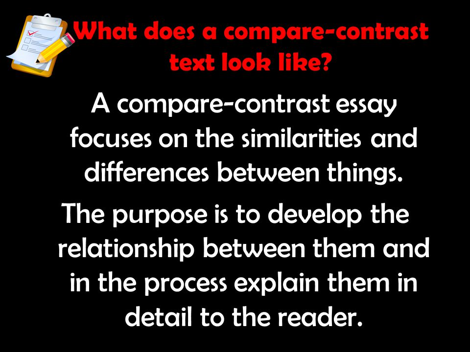 What does a compare-contrast text look like