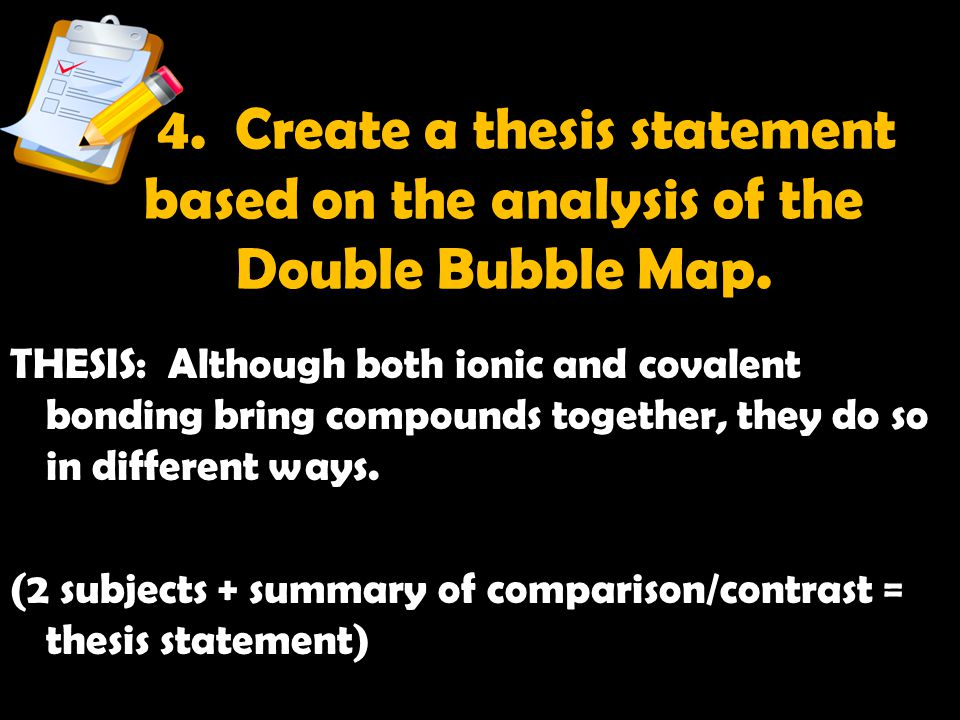 4. Create a thesis statement based on the analysis of the Double Bubble Map.