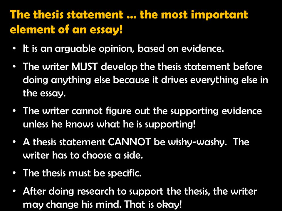 The thesis statement … the most important element of an essay!