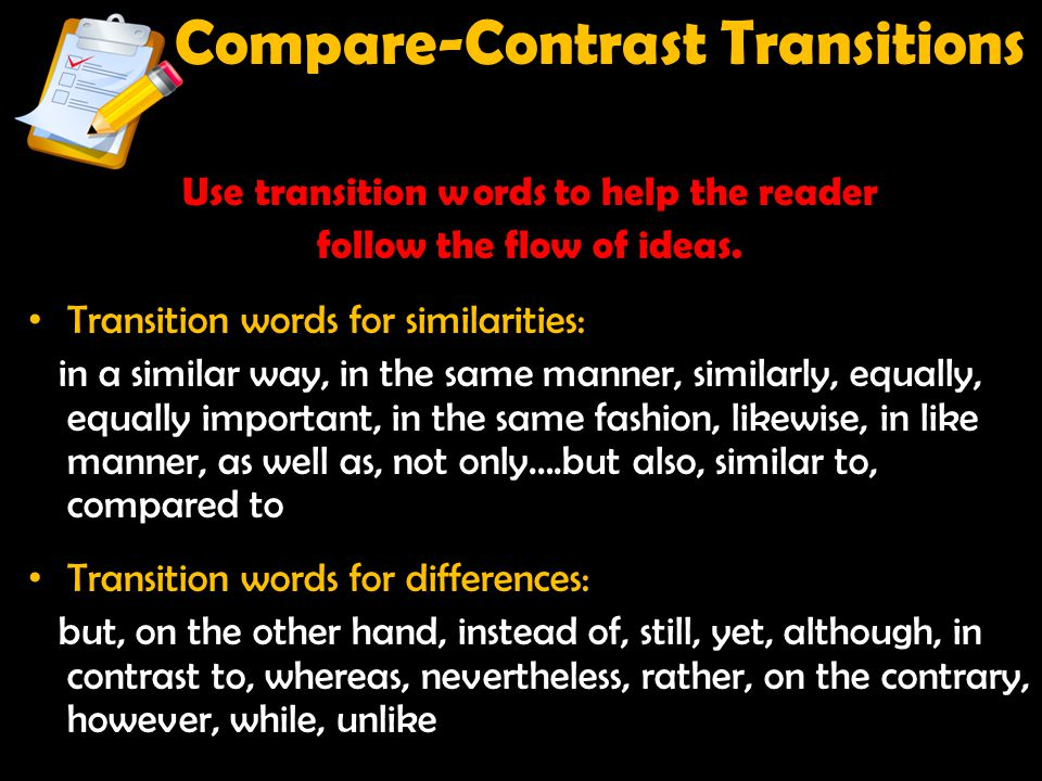 Compare-Contrast Transitions