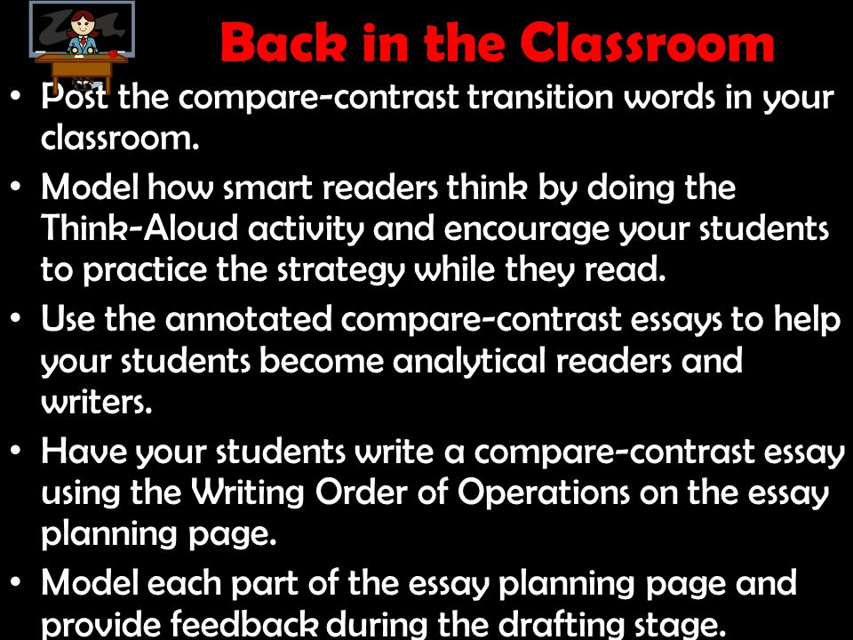 Back in the Classroom Post the compare-contrast transition words in your classroom.