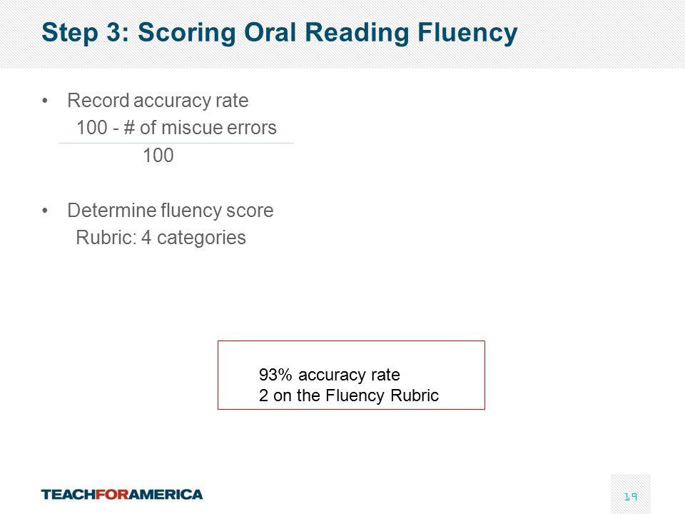Step 3: Scoring Oral Reading Fluency