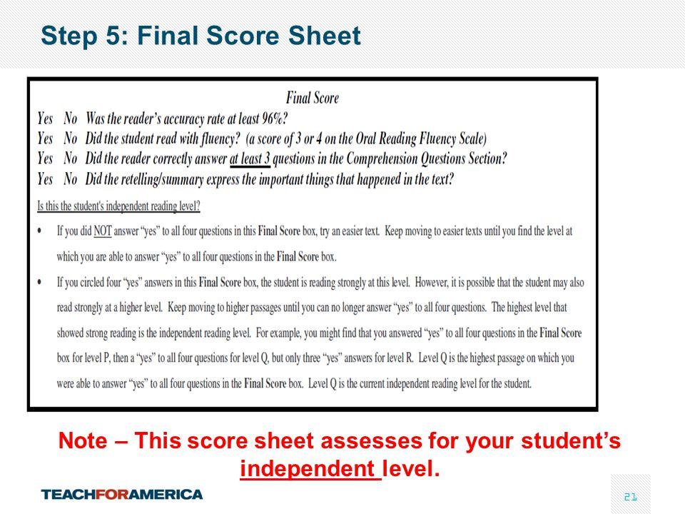 Step 5: Final Score Sheet