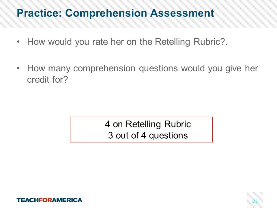 Practice: Comprehension Assessment