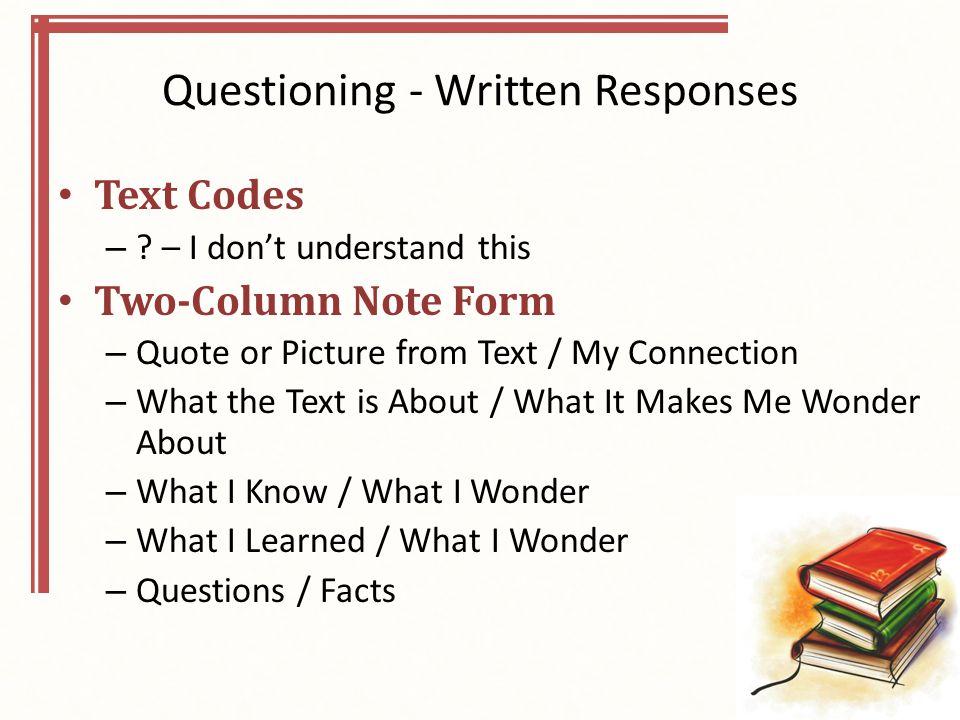 Questioning - Written Responses