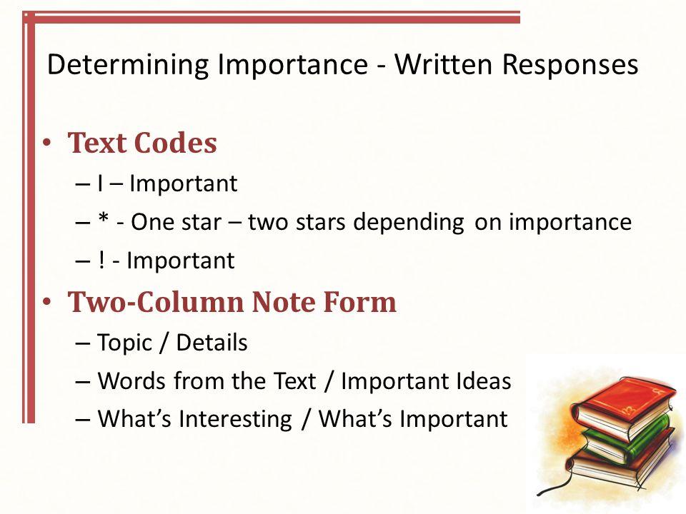 Determining Importance - Written Responses