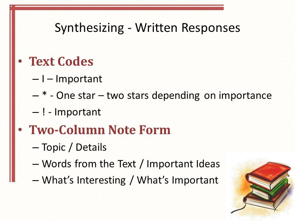 Synthesizing - Written Responses